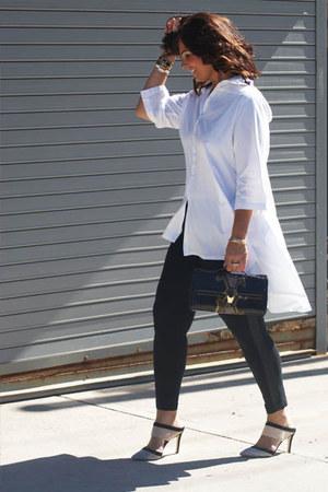 white METROSTYLE blouse - black Old Navy leggings
