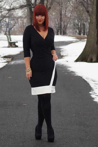 Black Ashley Stewart Dresses Black Black Pumps Rampage Pumps