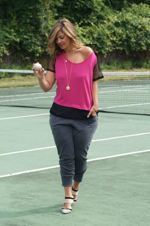 charcoal gray serena williams leggings - hot pink serena williams top
