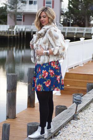 eggshell Adrienne Landu jacket - silver asos boots - blue Forever 21 dress