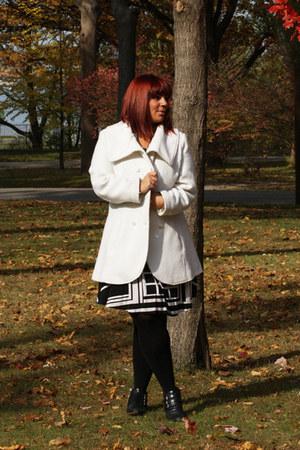 white white coat Jessica Simpson coat - black moto booties Michael Kors boots
