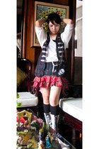 white Gucci boots - black opaque socks - ruby red Super Lovers skirt