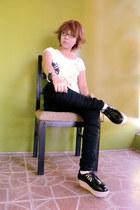 black skinny jeans Terranova jeans - white Terranova top