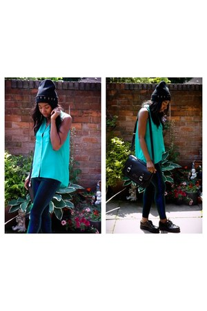 Primark hat - asos leggings - H&M shirt - Primark bag - new look flats