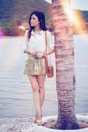 gold skirt - camel bag - white blouse - eggshell pumps