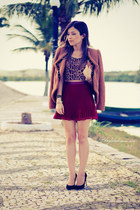 maroon skirt - bronze top