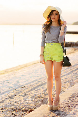 eggshell hat - chartreuse shorts - silver blouse