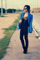gold top - black boots - black leggings - blue blazer - sky blue bag