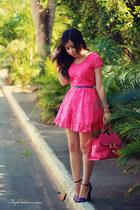 blue sandals - hot pink dress