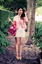 hot pink bag - bubble gum blazer - light pink skirt