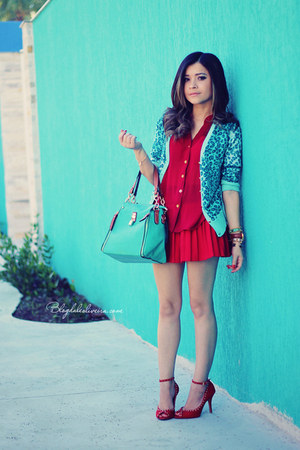 red shirt - aquamarine cardigan - red skirt