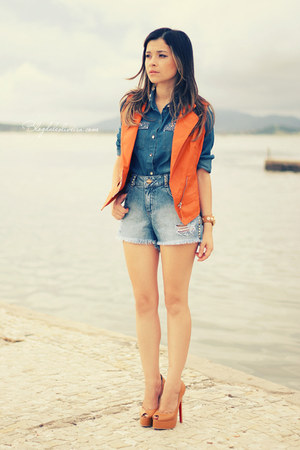 orange vest - sky blue shorts - blue blouse