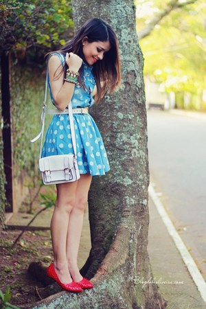 red flats - sky blue dress