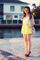 eggshell blouse - yellow shorts - light yellow sunglasses - red pumps