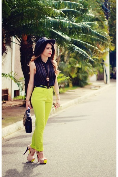 black hat - lime green pants - black blouse