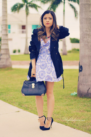 periwinkle dress - black cardigan