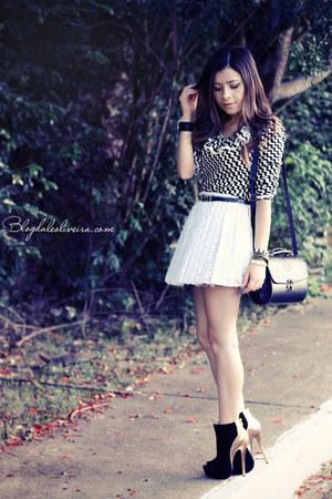 black boots - white shirt - black shirt - black bag - white skirt