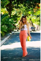 ivory shirt - orange pants