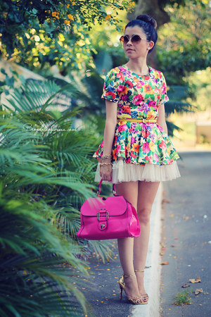 hot pink bag - maroon sunglasses - bubble gum vest - eggshell skirt