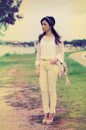 eggshell blouse - off white bag - cream pants - eggshell pumps