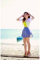 blue skirt - yellow top - white cardigan