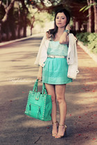 white jacket - light blue shirt - turquoise blue bag - aquamarine skirt