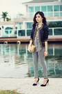 black jacket - black leggings - gold bag - black pumps - white blouse