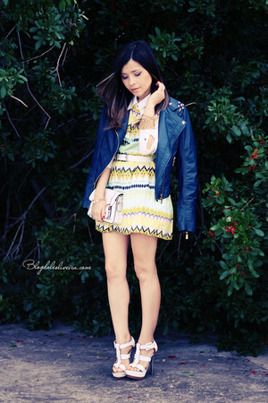 white sandals - light yellow dress - navy jacket