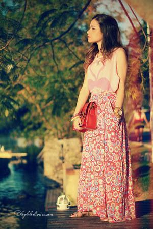 coral skirt - bubble gum shirt