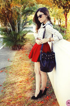 red skirt - black bag - brown sunglasses - white blouse