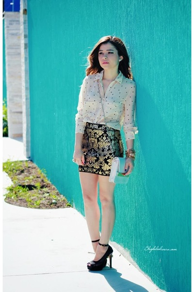 black skirt - beige blouse