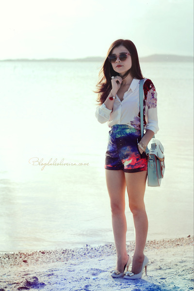 white blouse - light blue bag - magenta shorts - ruby red sunglasses