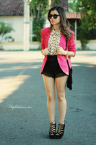 hot pink blazer - black bag - black shorts - light pink blouse - black sandals