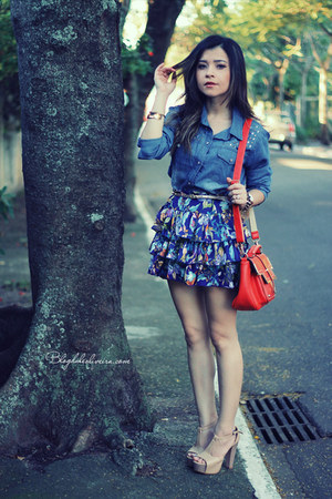 blue skirt - carrot orange bag - sky blue blouse
