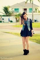 black dress - sky blue vest