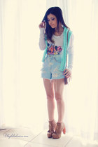 camel boots - sky blue shorts - white blouse - aquamarine cardigan