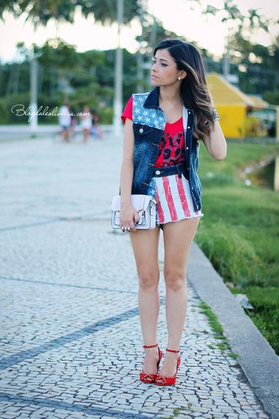 red blouse - blue shorts - blue vest
