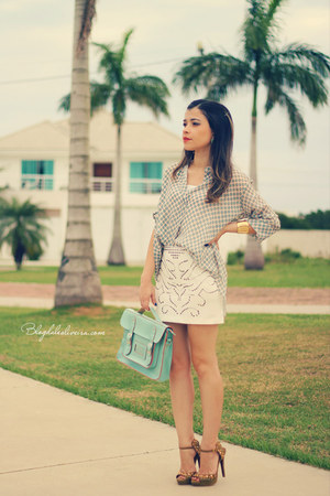 off white skirt - turquoise blue blouse