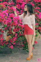 light pink blouse - red shorts - beige sunglasses - nude pumps
