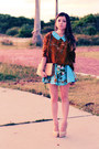 Sky-blue-dress-dark-brown-sweater-eggshell-pumps-sky-blue-bracelet