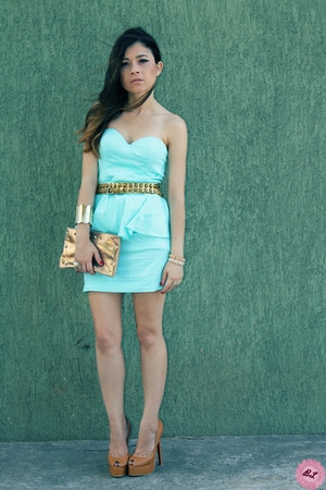 bronze pumps - light blue dress - burnt orange bag - burnt orange accessories