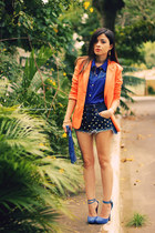 blue shorts - orange blazer - blue blouse