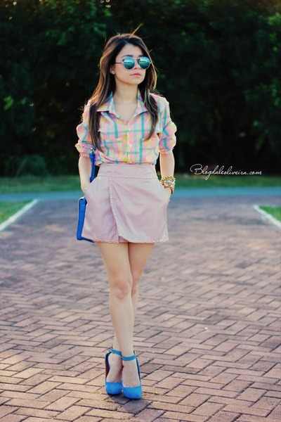 sky blue blouse - sky blue sunglasses - light pink skirt