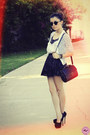 Black-bag-black-sunglasses-black-skirt-black-cardigan-white-t-shirt