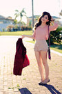 Crimson-coat-beige-shorts-brown-belt-pink-blouse-dark-brown-flats