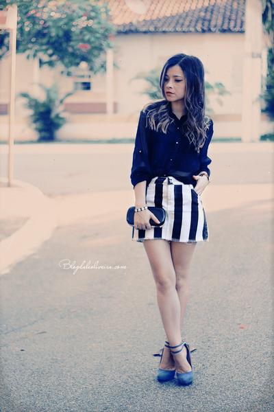 off white skirt - black skirt - black blouse - blue sandals - black bracelet