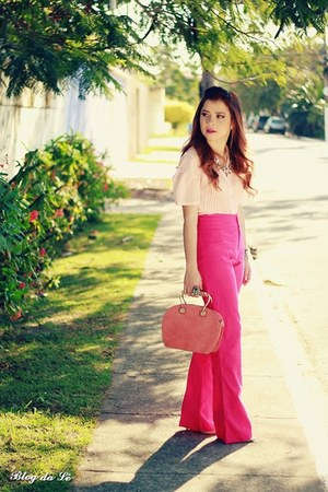 hot pink pants - light pink blouse