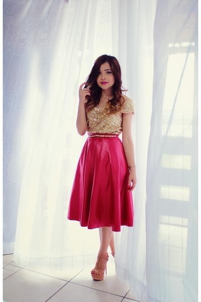 red skirt - mustard blouse