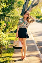black skirt - green blouse