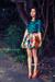 turquoise blue shirt - bronze pumps - yellow skirt - bubble gum bracelet